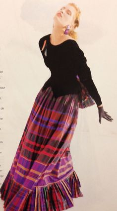 Louis Feraud Haute Couture- A/W 1987-88 Long gown dress with a long sleeve velvet top and a silk satin tartan plaid skirt with pleats. L'Officiel No. 734- September 1987