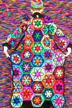 """""""Bad Trip"""" Psychedelic Nightmare Crochet Coat"""