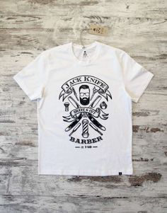 Original design by T-SIR: Jack Knife, shave & cut, barber. 100% cotton, with an enzyme wash treatment gives this T-Shirt a unique super-soft feel. Tag with brand logo at the bottom left.