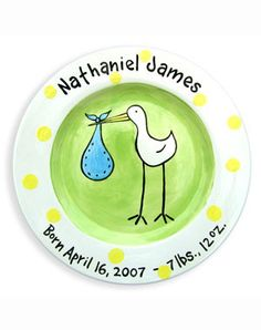This adorable stork plate makes a great gift for a special little baby boy in your life. This personalized ceramic plate is 100% hand-painted in the U.S.A. All plates are dishwasher safe. An additiona