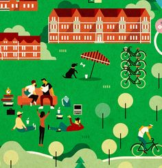 Campaign posters for Kärkimedia, one of the largest media companies in Finland. City Illustration, Pattern Illustration, College Brochure, Charles Montgomery, University Guide, Reed College, Northumbria University, Happy City, Campaign Posters