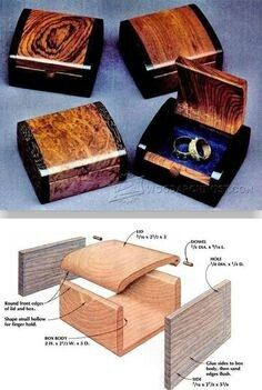 Bandsaw Wedding Ring Box Plans - Woodworking Plans and Projects - Woodwork, Woodworking, Woodworking Plans, Woodworking Projects Woodworking Furniture, Fine Woodworking, Intarsia Woodworking, Wood Furniture, Woodworking Quotes, Woodworking Classes, Simple Woodworking Ideas, Woodworking Bandsaw, Carpentry Tools