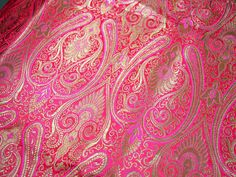Silk Brocade Fabric Pink Gold Weaving by Indianlacesandfabric