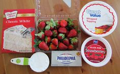 The Country Cook: Strawberry Shortcake Cake.Ingredients:  1 box (16.5 oz) white cake mix  Additional ingredients to make cake; egg whites, oil and water  1 (8 oz.) package cream cheese (softened to room temperature)  1/2 cup powdered sugar  1 (8oz.) container whipped topping (thawed)  1 container (13.5 oz.) premade strawberry glaze  3 cups fresh strawberries (hulled and cut into bite size pieces)