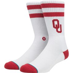 Stance Oklahoma Sooners Striped Socks, Kids Unisex, Size: Large, Blue