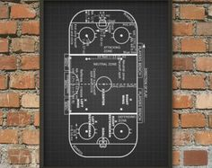 Ice Hockey Rink Print  Ice Hockey Game Zones  Ice by QuantumPrints