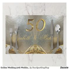 Paper in Gold Writing Placemats 12 of Happy 19th Wedding Anniversary