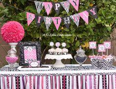 Cute zebra print and hot pink party theme.perfect for a girl's birthday party! Zebra Print Party, Pink Zebra Party, Pink Parties, Birthday Parties, Birthday Ideas, Birthday Celebrations, Birthday Decorations, Zebra Wedding, Decor Wedding