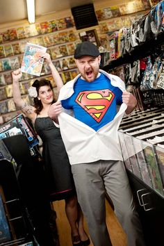 comic book store engagement pics | ... Bright and Colorful Comic Book Store E-session | Poptastic Bride