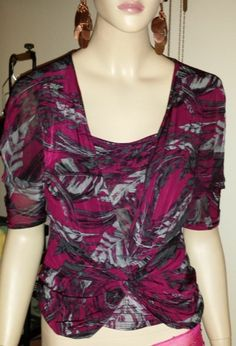 New York & Company two piece set bold fuchsia print top and cami. size XS - M #NewYorkCompany #Wrap