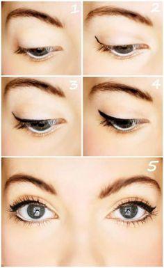 #maquillaje natural de #ojos con #delineado de gato