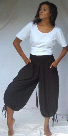 BLACK PANT CAPRI GAUCHO - FITS (ONE SIZE) - L 1X 2X - @T964 LOTUSTRADERS LOTUSTRADERS. $40.99