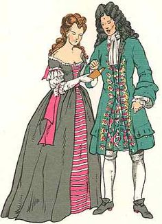 There is no very noticeable change in men's attire during the first ten years of the eighteenth century. Coats and waistcoats remained very long with large pockets in the flaps of each. The stockings were worn outside the breeches, drawn up over the knee, but gartered below. Stockings could be of coloured silk - blue or scarlet - with gold or silver clocks, but youths and poorer men wore black stockings of wool. In winter the curious fashion was followed of wearing several pairs of stockings…