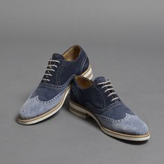 Thomas Dean Made in Italy Suede Two Tone Wingtips in Blue   Thomas Dean Co. $315