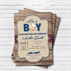 Rustic baseball baby shower invitation. It's a boy, baseball sport theme rustic wood couple's baby shower. printable invite B106 by CrazyLime on Etsy https://www.etsy.com/listing/237455303/rustic-baseball-baby-shower-invitation