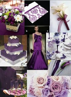 Purple and gray wedding: like short square centerpieces just use purple/grays; like card; like calla lily boutonnieres, cake's ok but not fave, drink color is cool, like roses