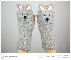 Etsy の Rabbit / Bunny Fingerless Gloves FREE Shipping by Pomber