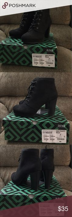 NWT Ana Frosty Suede Tie Heeled Booties Size 6 1/2 NWT Ana Frosty Suede Tie Heeled Booties Size 6 1/2! BRAND NEW! Perfect with a dress or jeans! No Trades! No Merc! (These will not be shipped in box unless asked in advance.) Ana Frosty Shoes Ankle Boots & Booties