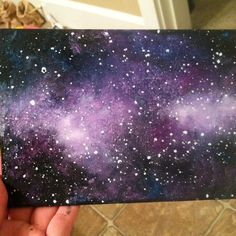 Melted crayon art on canvas by Lauren Elizabeth. Galaxy scene. Galaxy stars space