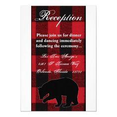 3.5x7 Reception Card Red Buffalo Plaid Bear Black Wedding Rehearsal Invitations, Beautiful Wedding Invitations, Wedding Invitation Design, Custom Invitations, Bingo Cards, Menu Cards, Debut Invitation, Invitation Ideas, Bar Wrappers