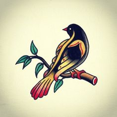 bird colored old school tattoo traditional
