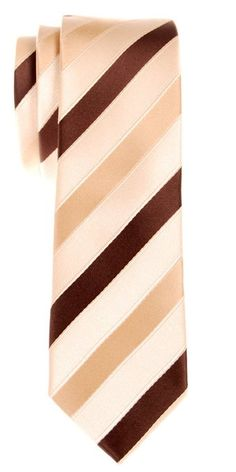 Retreez Three-Colour Stripe Woven Microfiber Skinny Tie - Yellow and Brown