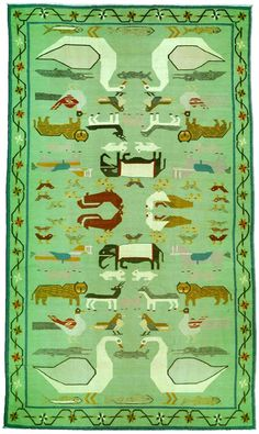 19th century Indian Dhurrie rug, with mirrored symmetrical animal design.