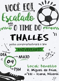 Miguel Football Themes, Football Birthday, Soccer Party, Lucca, Party Hats, Love You, Soccer Birthday Parties, Invitation Birthday, Toddler Boy Birthday