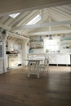 Open kitchen, love the beams and ceiling! #whitekitchen