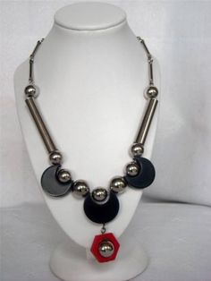 Art Deco Modernist Jakob Bengel Chrome Galalith Necklace Circa 1930
