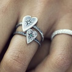 Otto Heart Rings With Emerald Or Icy Diamond   To see the full f/w collection visit our website www.ottojewels.com  #ottojewels #jewels #jewelry #silver #heart #rings #givelove #collection