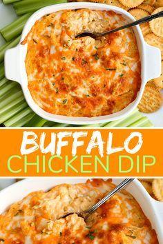 Baked Buffalo Chicken Dip, Bufflo Chicken Dip, Buffalo Chicken Recipes, Buffalo Chicken Cheese Dip, Buffalo Chicken Dip Ingredients, Keto Chicken, Baked Chicken, Pollo Buffalo, 5 Ingredient Recipes