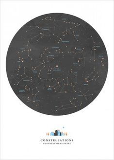 Constellations Map Illustration Print, Sky Map - Noemie Cedille