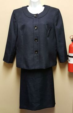 Evan Picone Size 14 Blue Skirt Suit 2 pc Outfit Textured Blazer Jacket #EvanPicone #SkirtSuit
