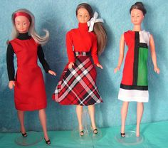1960s Mily French fashion dolls (one sporting her own Yves St. Laurent Mondrian mini dress).
