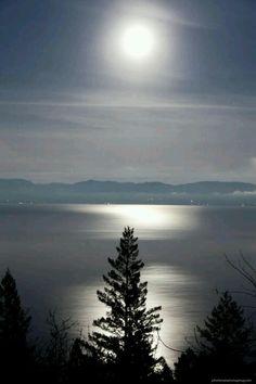 Full moon over Lake Flathead, Montana