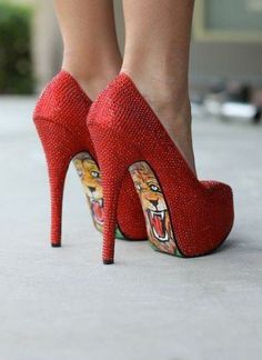 Red high #heel shoes