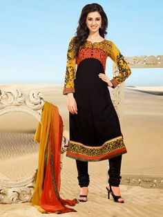 USD 60.99 Black Resham Work Designer Churidar Salwar Suit 30398