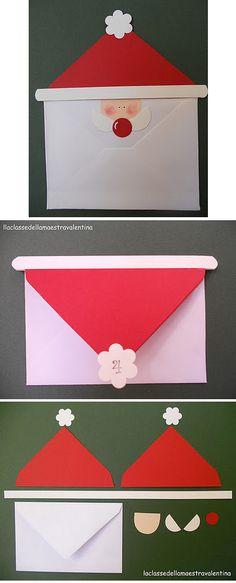 конверт с лицом деда мороза, в котором можно подарить открытку или записочку с пожеланием или деньгами на новый год