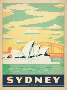 Australia: Sydney Harbor - Our latest series of classic travel poster art is called the WorldTravel Poster Collection. We were inspired by vintage travel prints from the Golden Age of Poster Design (a glorious period spanning the late-1800s to the mid-1900s.) So we set out to create a collection of brand new international prints with a bold and adventurous feel.<br />