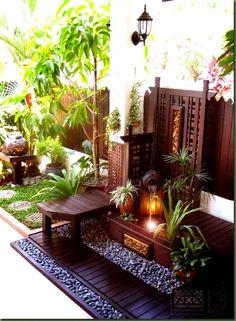 Zen-like outdoor sanctuary Outdoor Rooms, Outdoor Gardens, Outdoor Living, Outdoor Decor, Zen Gardens, Outdoor Ideas, Indoor Outdoor, Asian Decor, Indian Home Decor