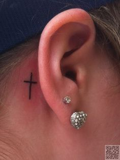 3. #Simple Cross - 25 Ear #Tattoos You Are Going to Love ... → #Beauty #Great
