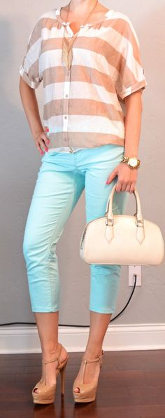 outfit post: mint cropped pants, tan and white striped shirt | Outfit Posts Dynamic
