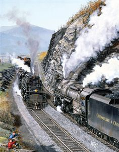 Vintage railroad art and prints from reknoun artists News Around The World, Around The Worlds, Bonde, Real Model, Train Pictures, Rolling Stock, Steam Engine, Steam Locomotive, Transportation
