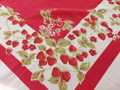 Vintage Tablecloth Vibrant Red and White by UppityWomen on Etsy, $48.00