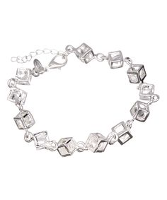Silver-Plated & Austrian Crystal Cube Bracelet