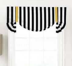 Custom Tie-Up Shade Valance for Single to Extra Wide Window Curtain Shop, Curtain Rods, Tie Up Shades, Desks For Small Spaces, Premier Prints, Desk Space, Custom Ties, Custom Curtains, Bold Stripes