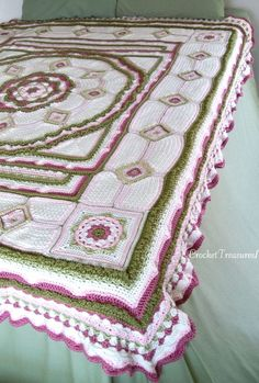 Amongst the Roses Bedspread or Throw / Queen - Full - Twin / new / handmade / afghan / rose / pink / green / floral / white / unique