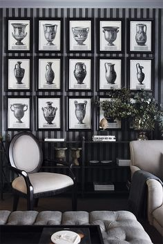 Classical images in black frames in a beautifully coordinated Living Room. Striped wallpaper always works well in monochrome and the lighter grey furniture keeps the room from becoming dark . Home Interior, Interior And Exterior, Interior Decorating, Interior Design, Interior Ideas, Interior Inspiration, Houghton House, Composition Photo, Black And White Interior