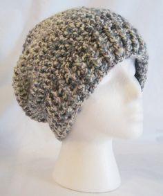 Hand crochet chunky slouch beanie multi color blue by jeniebug76